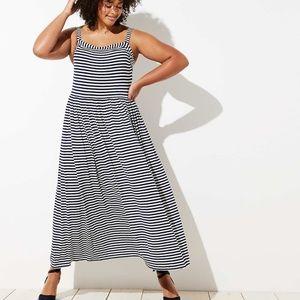 Loft Plus Navy Stripe Maxi Dress 16/18